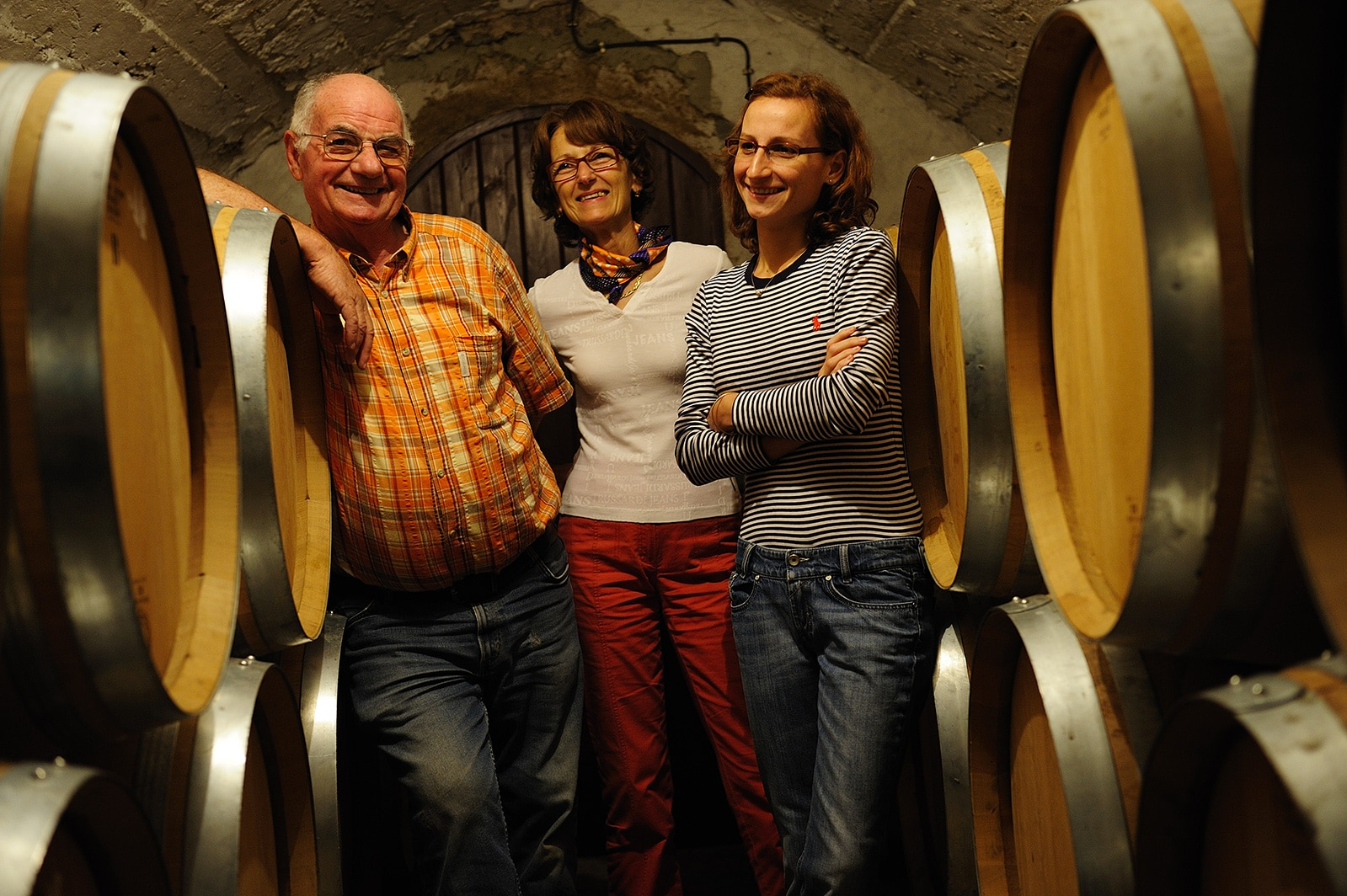 Chais Les Goubert avec jean-Pierre, Mireille et Florence Cartier souriants